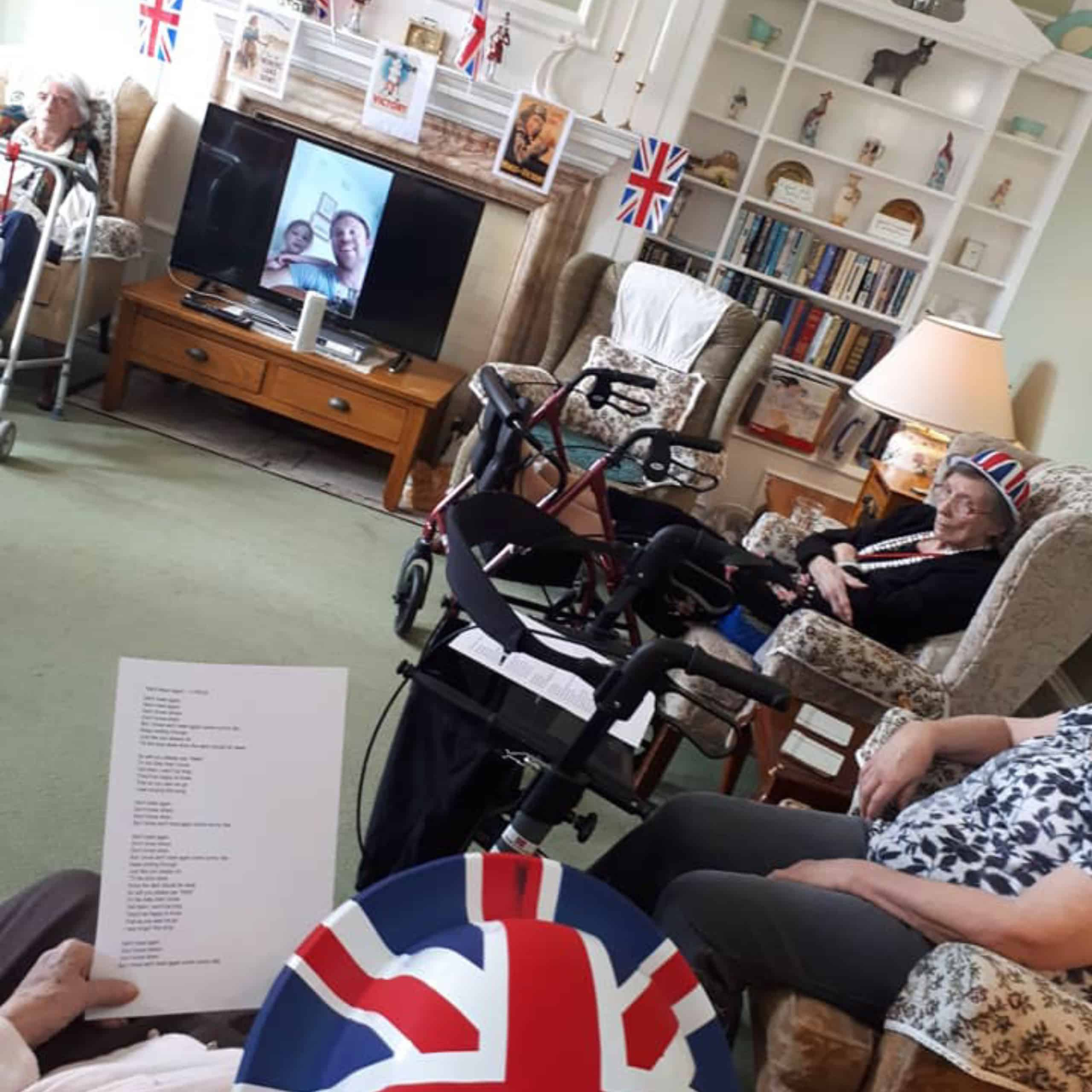 Featherton House Care Home Residents enjoy live entertainment via video call.