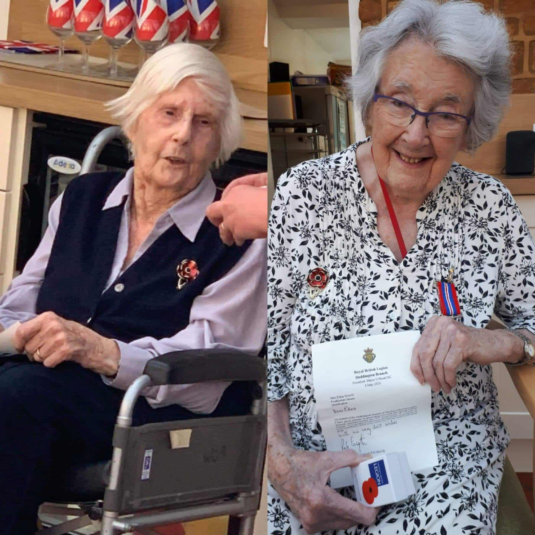 Featherton House Care Home residents Margery Hawes and Edna Sewell are honoured by the Deddington Branch of the Royal British Legion on VE Day.