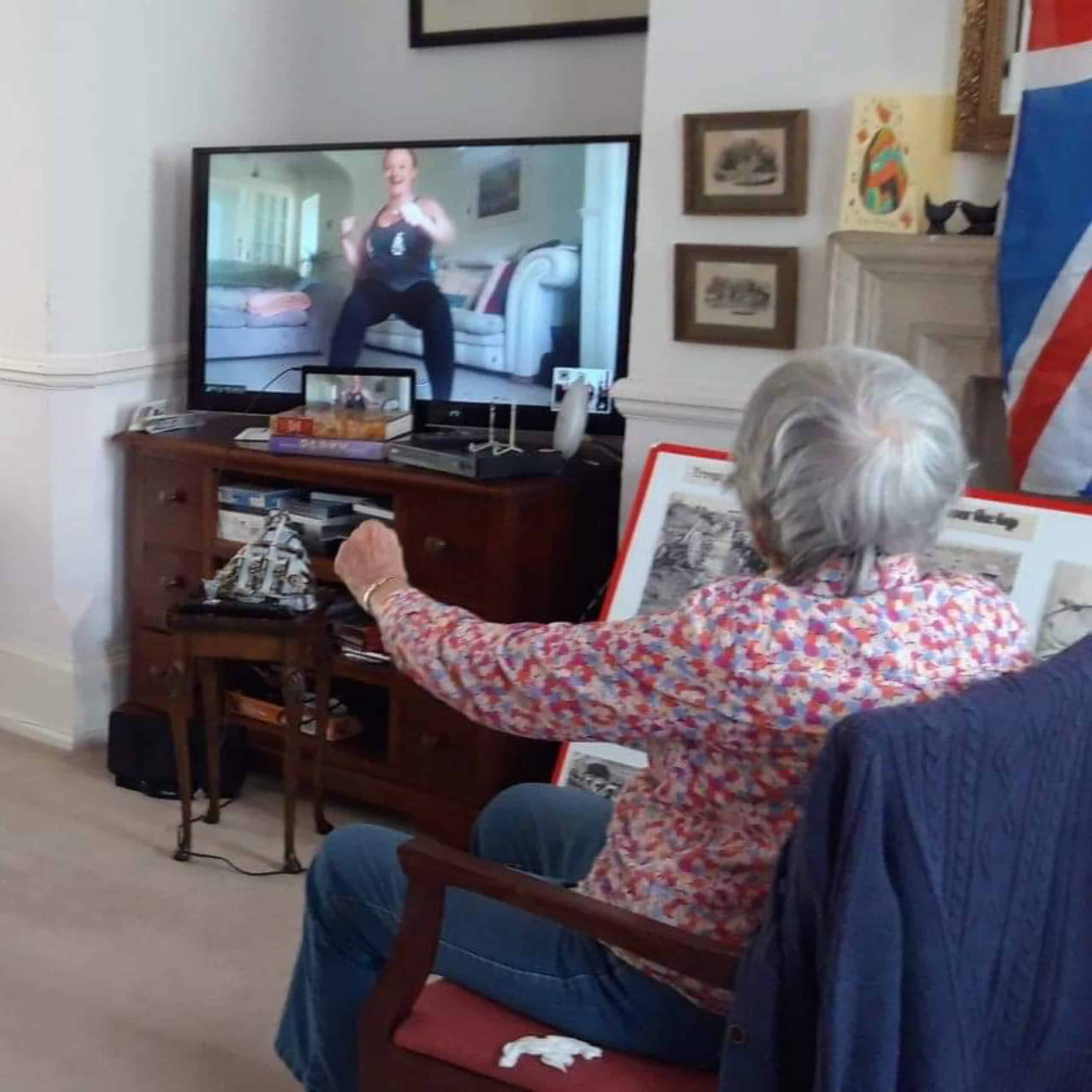 A Wren House resident taking part in the Zoom exercise class.