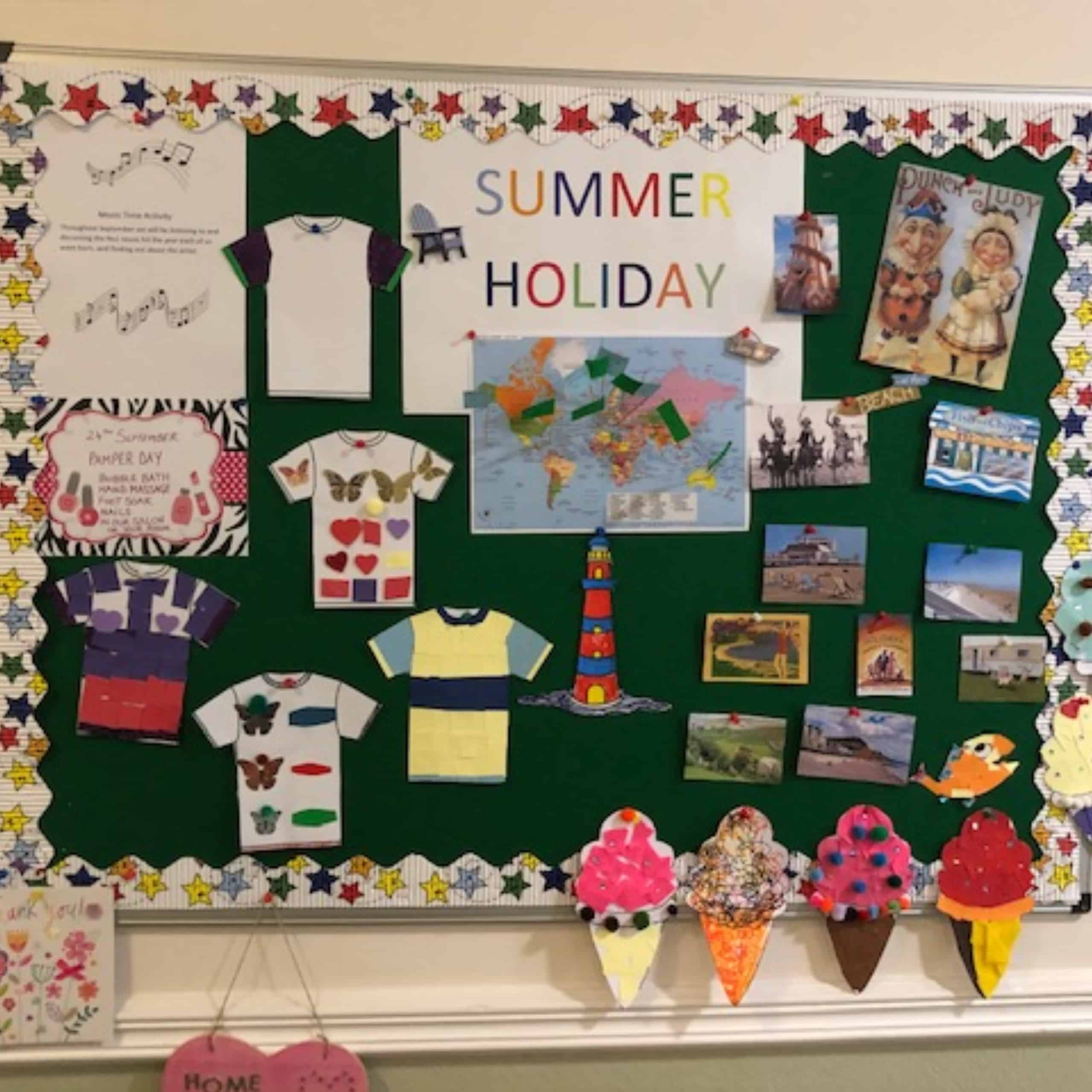 The 'Summer Holiday' memory board at Westerham Place Care Home in Sevenoaks.