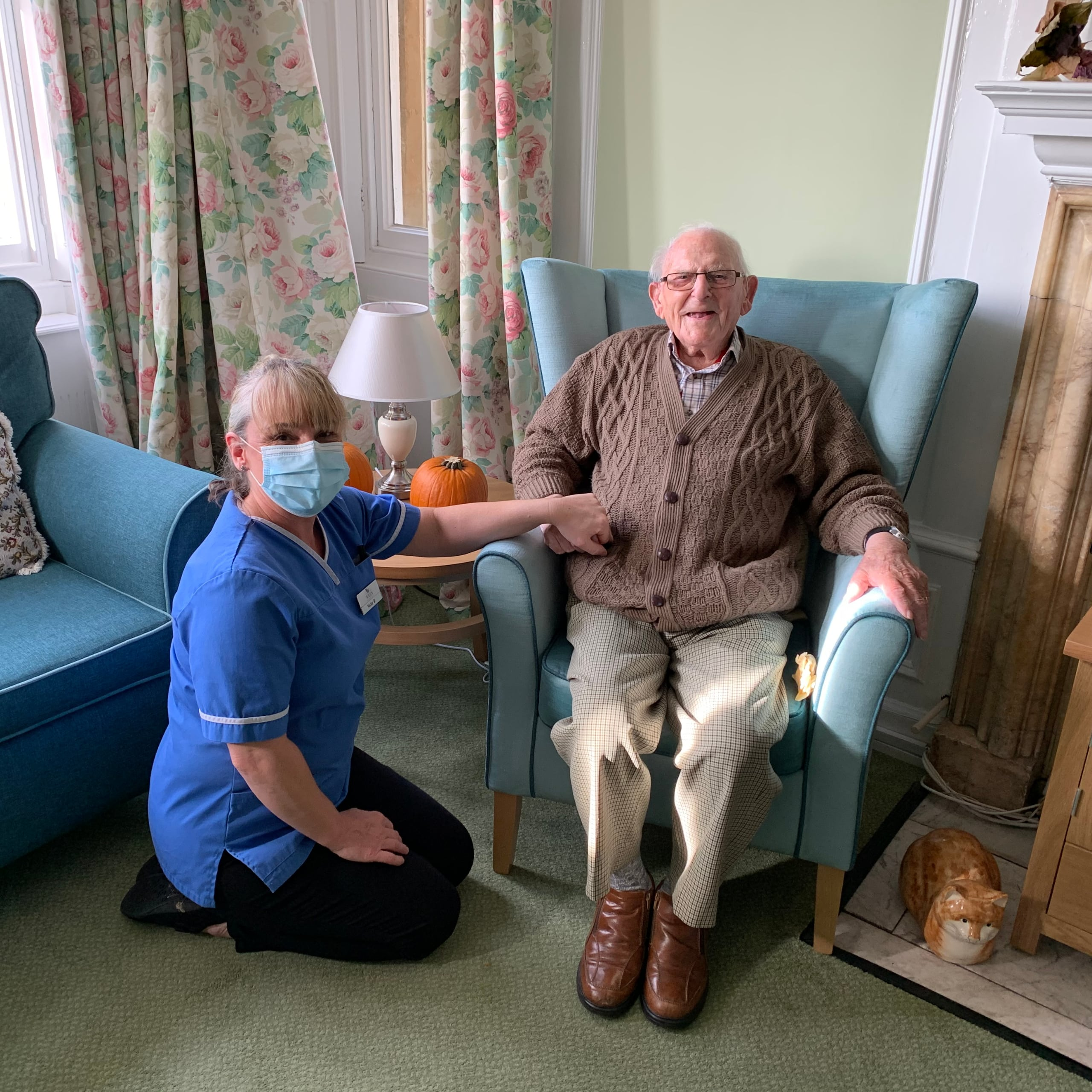 Featherton House team member Nicola Hutchings and resident Geoffrey Hillman