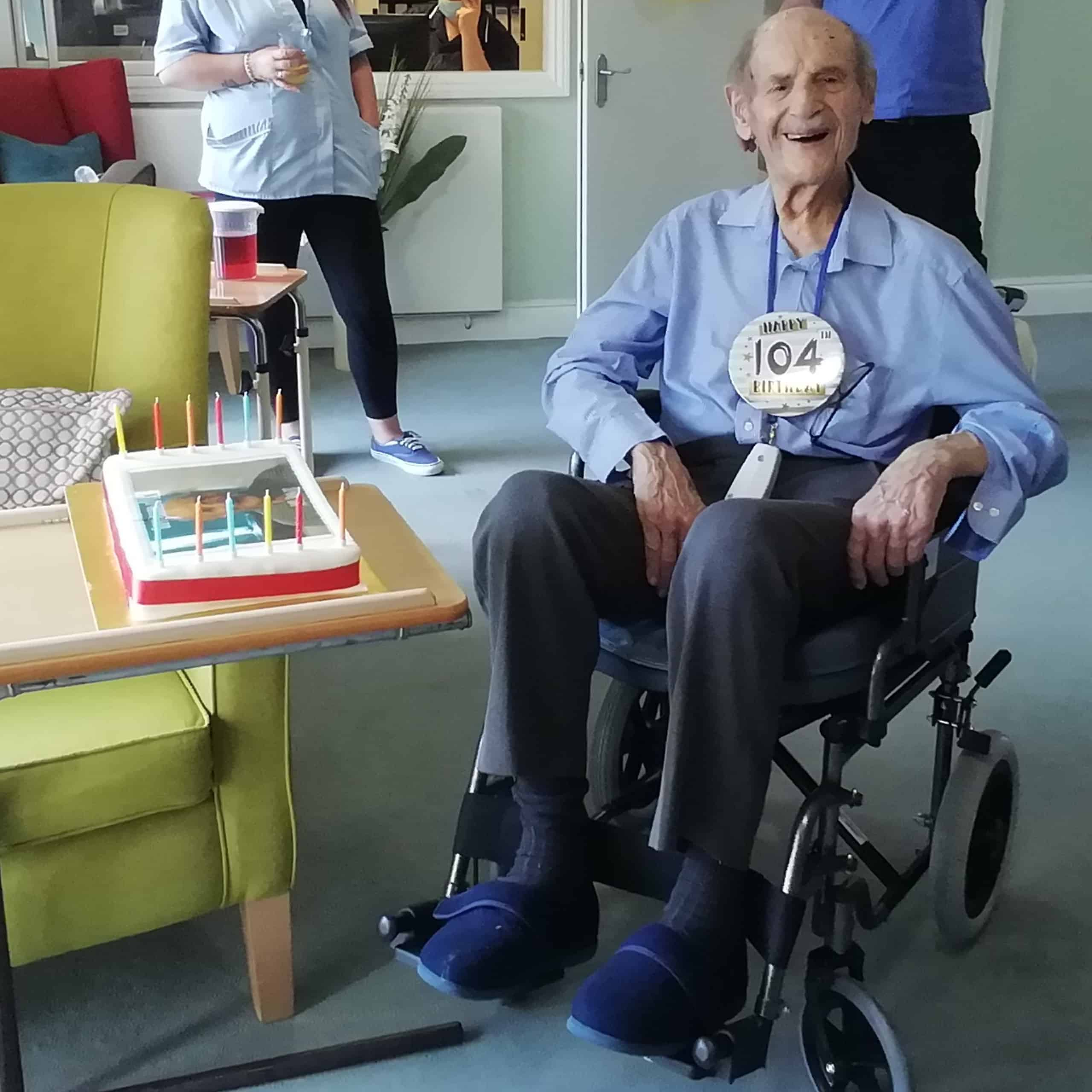 Patcham Nursing Home resident Len Goldman with his personalised cake on his 104th birthday.