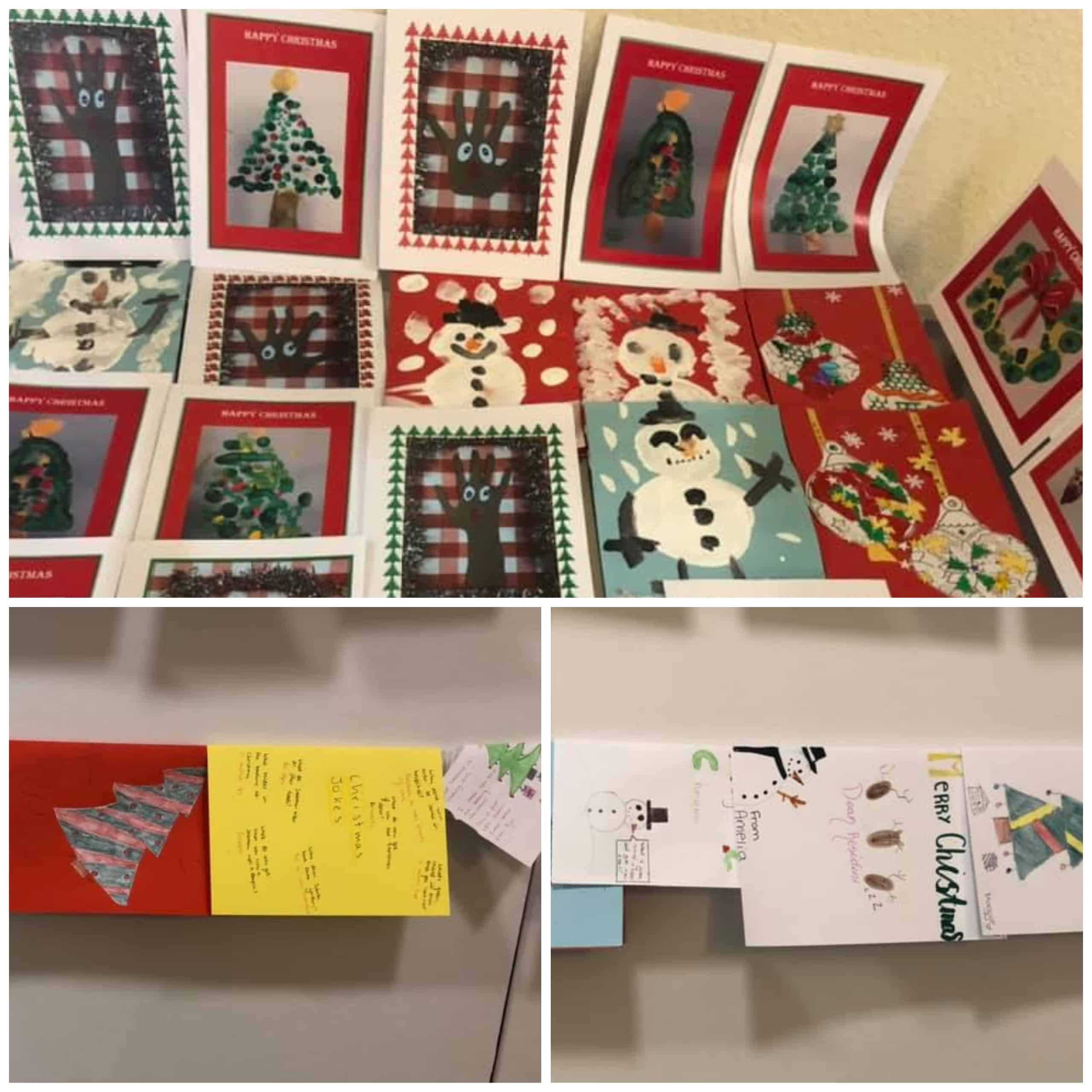 A selection of the hand decorated Christmas cards sent to Westerham Place Care Home residents by local school children.