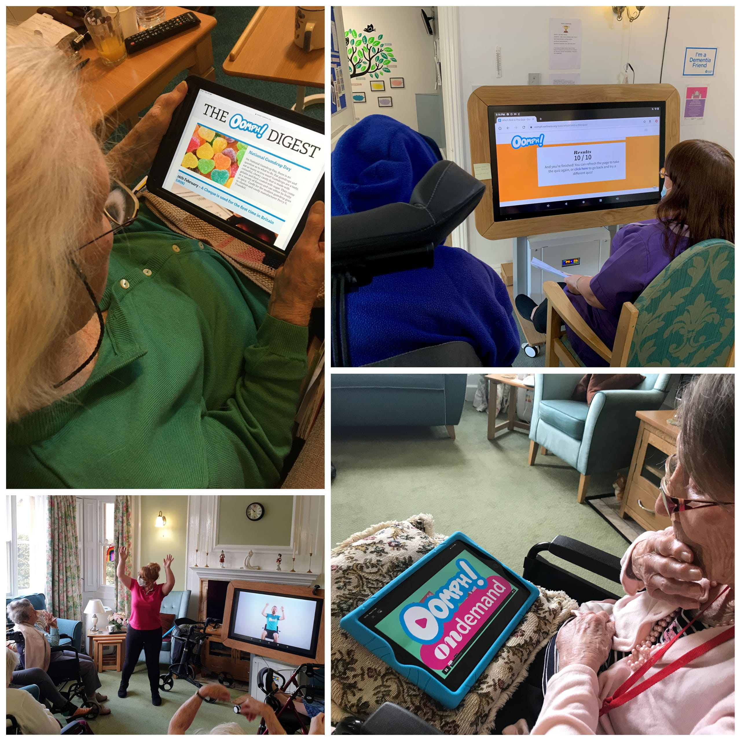 Residents at Wren Retirement Living care homes enjoying digital activities via Oomph On Demand.
