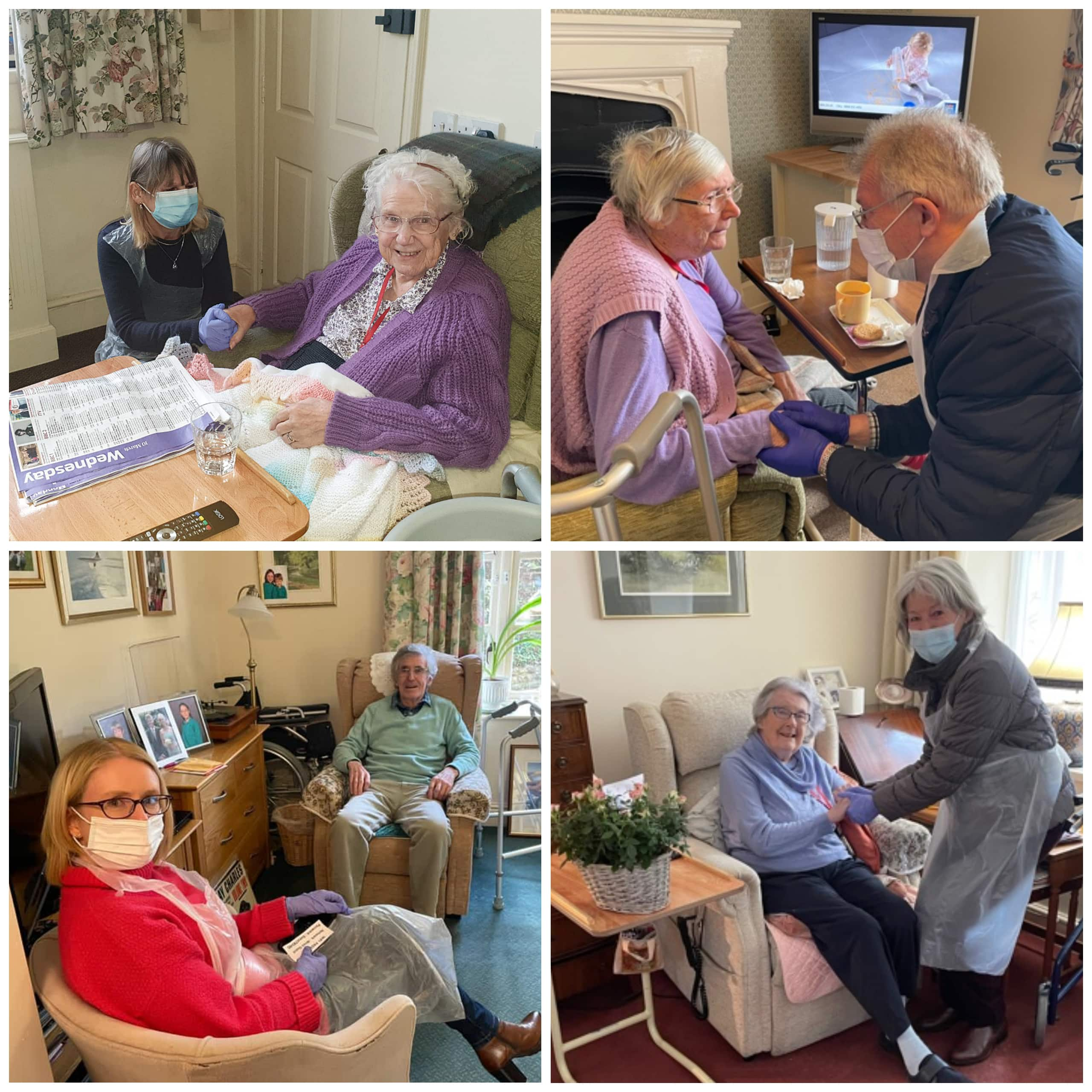 Residents at Featherton House Care Home in Deddington reunited with their designated visitors inside the home.