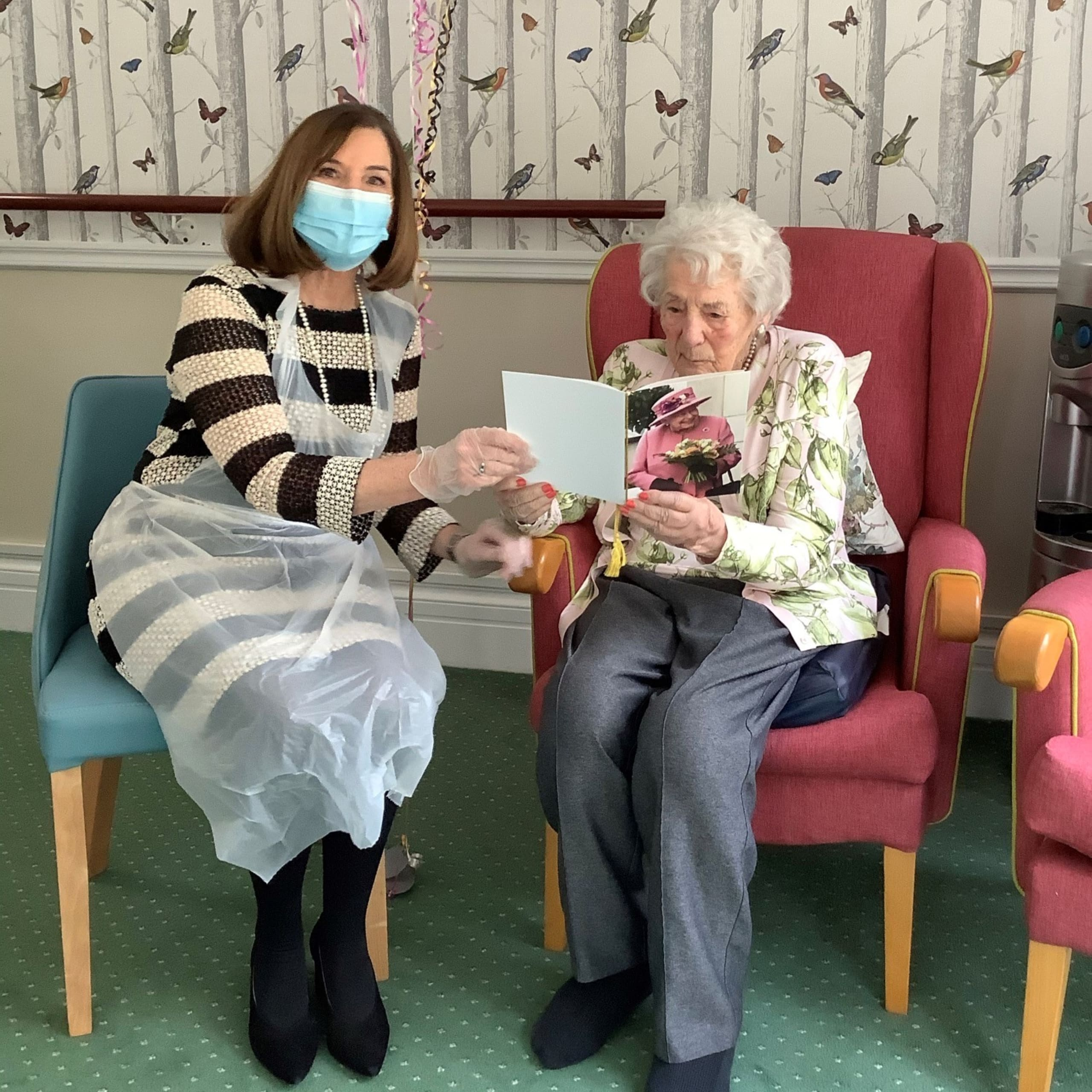 Westerham Place Care Home resident Joan Collier on her 100th birthday with her daughter Carolyn Guiness