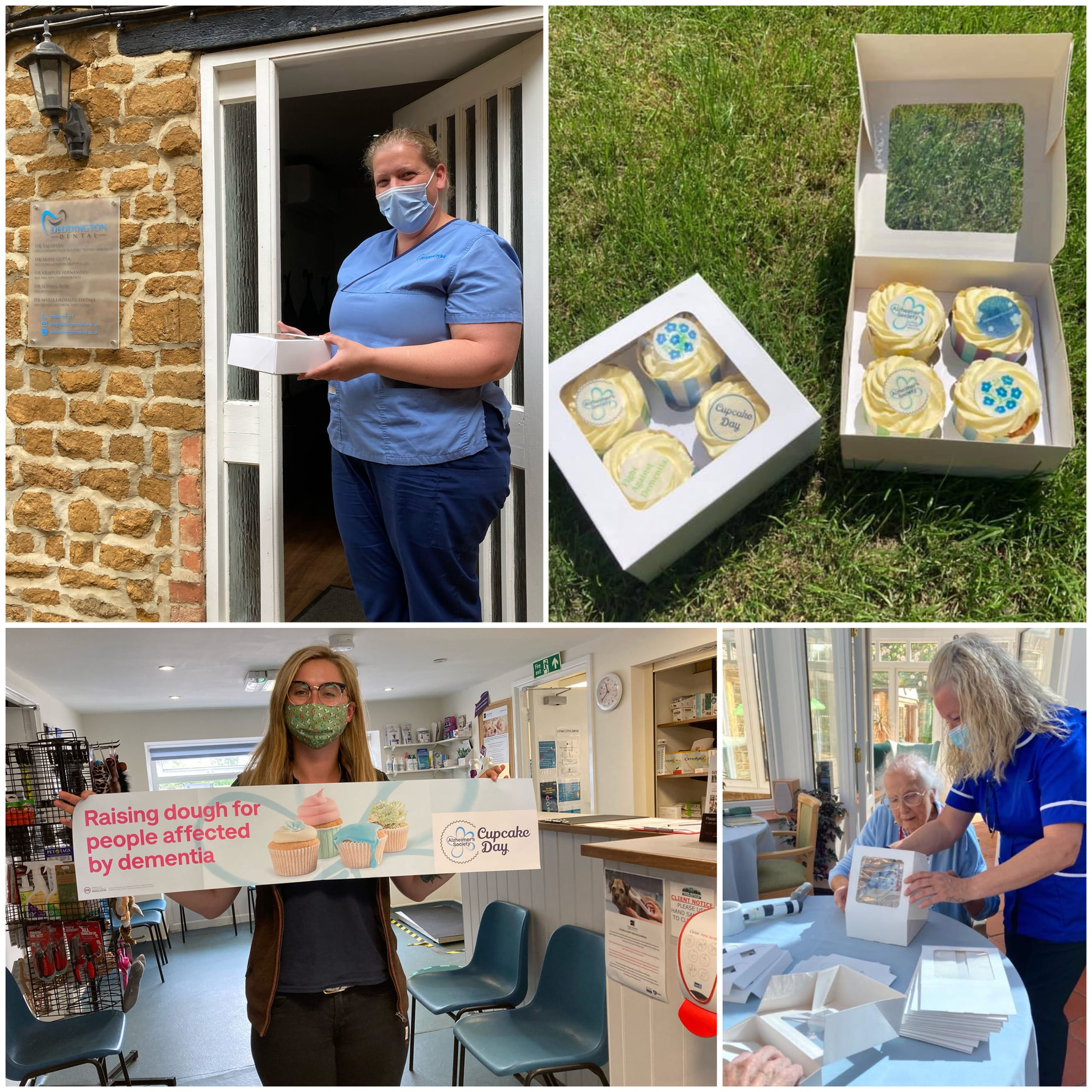Residents and staff at Deddington-based care home Featherton House packing homebaked cupcakes into gift boxes for local keyworkers.